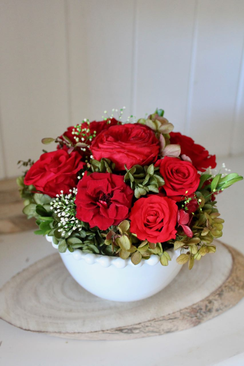 Image of Flower Bowl - Red Round Bowl