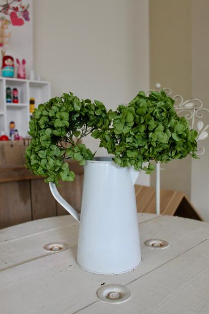 Image of Hydrangea on Natural Stem - set of 2 - Basil Green