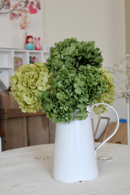Image of Hydrangea on stem - set of 4 - Soft and Basil Green