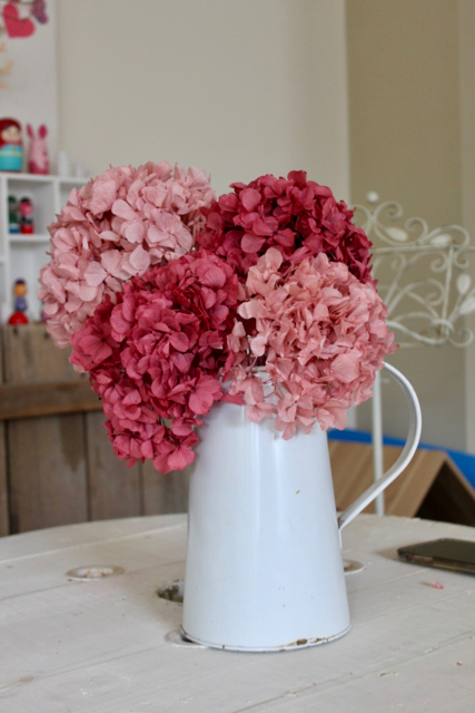 Image of Hydrangea on stem - set of 4 - Soft and Rose Pink