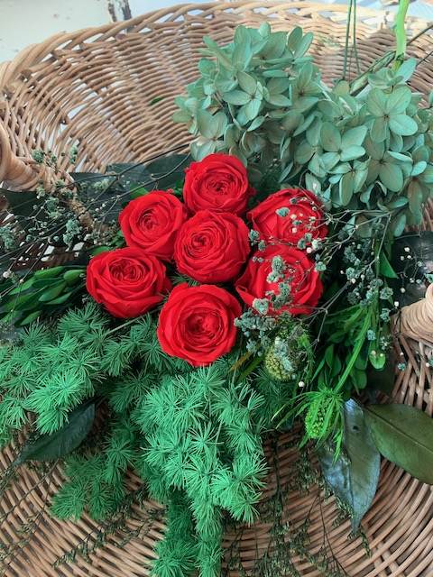 Image of LOVE Red Roses with Greenery - Large