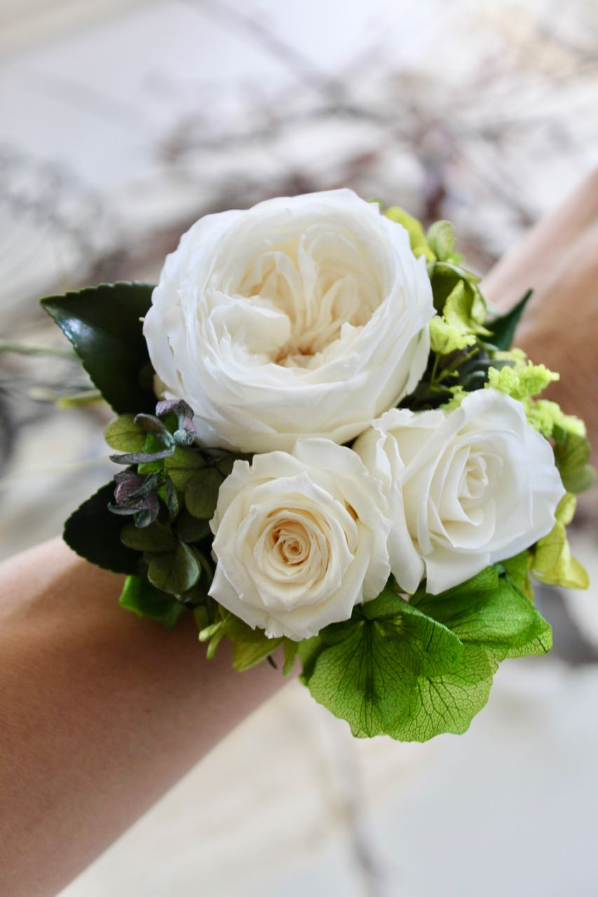 Image of Wrist Corsage - Old Rose size ML - White